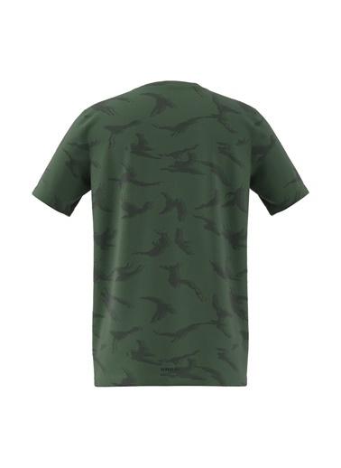 adidas Adidas Erkek Çocuk Bisiklet Yaka Yeşil-Siyah T-Shirt Yeşil